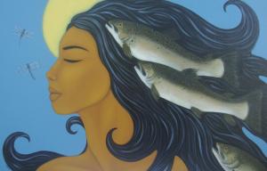 femme bleue - mer