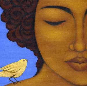 femme oiseau bleu