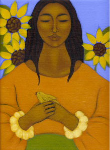 femme oiseau tournesol